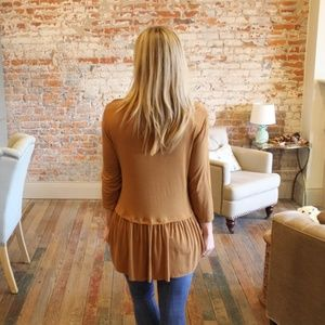 Infinity Raine Tops - Copper 3/4 Sleeve drop waist ruffle tunic